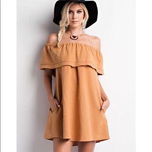 Camel Off The Shoulder Dress